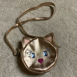 Betsy Johnson Luv Gold kitty Cat Cross Body Purse
